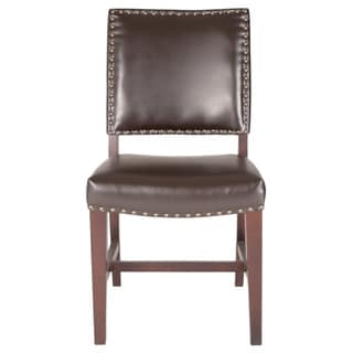 Gray Manor Espresso Birch/Bonded Leather/Fabric Alan Dining Chairs (Set of 2)
