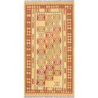 eCarpetGallery Izmir Kilim Brown/Red Geometric Hand-woven Rug (4'9 x 9'2)