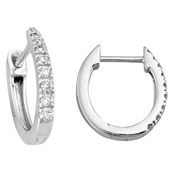 10k White Gold 1/5ct TDW Diamond Hoop Earrings