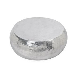 """Aurelle Home Handcrafted Silver Drum Coffee Table - 31.5"""" x 31.5"""""""