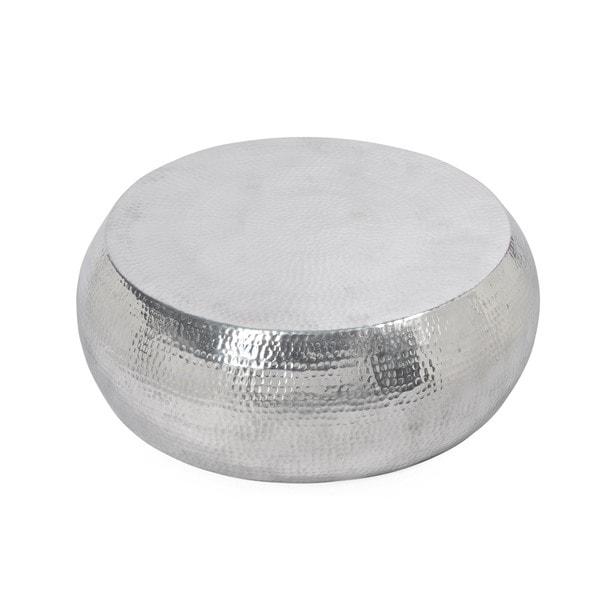 Aurelle Home Silver Drum Coffee Table