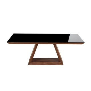 Aurelle Home American Walnut & Glass Top Coffee Table