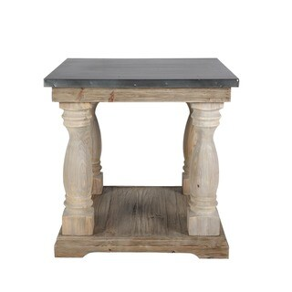 Aurelle Home Rustic Zinc Covered Side Table