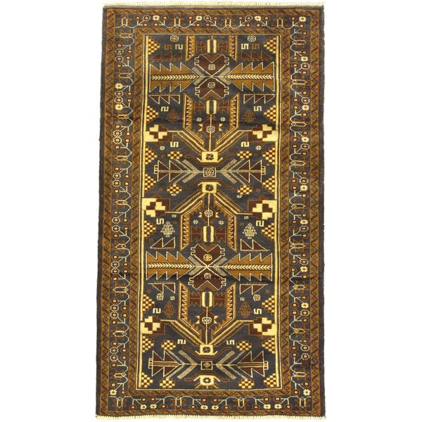 eCarpetGallery Finest Rizbaft Brown Wool Hand-knotted Rug (3' 7 x 6' 6)