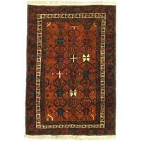 eCarpetGallery Rizbaft Red Wool Hand-Knotted Rug (3'9 x 5'8)