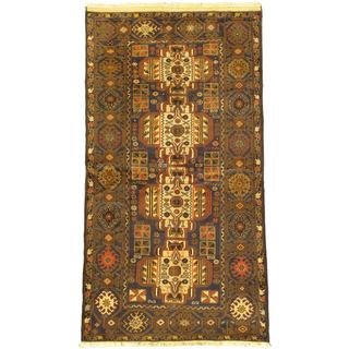 eCarpetGallery Finest Rizbaft Blue/Brown Wool Hand-knotted Rug (3'7 x 6'9)