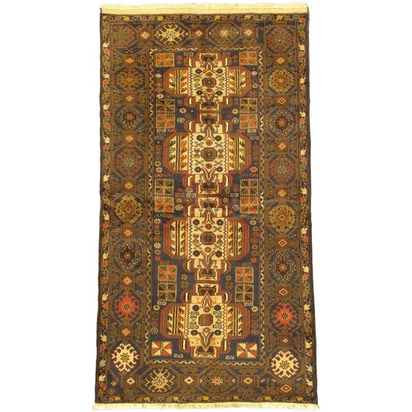 eCarpetGallery Finest Rizbaft Blue/Brown Wool Hand-knotted Rug - 3'7 x 6'9