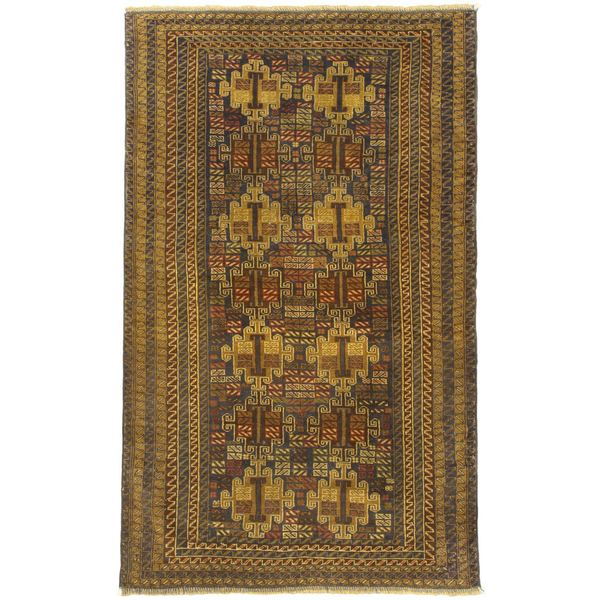 eCarpetGallery Khandahar Brown Wool Hand-knotted Rug (3'3 x 6'7)