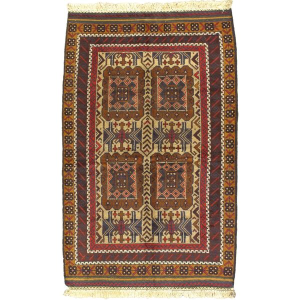 eCarpetGallery Finest Rizbaft Ivory Wool Hand-Knotted Rug - 3'6 x 5'10