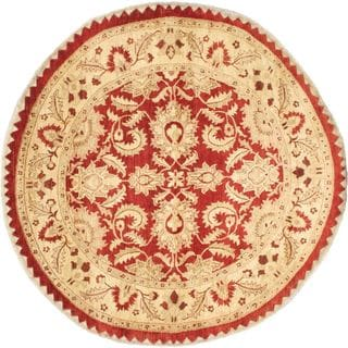 eCarpetGallery Chobi Red Wool Hand-knotted Round Rug (8' x 8')