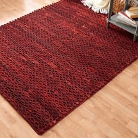 Hand-woven Prince Red Felted Wool Rug - 5' x 7'6