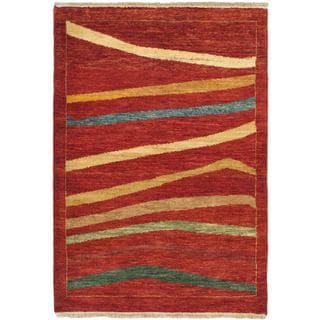 eCarpetGallery Finest Ziegler Chobi Red/Blue Cotton/Wool Hand-knotted Rug (3'4 x 4'9)