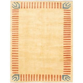 eCarpetGallery Finest Ziegler Chobi Yellow/Blue Cotton/Wool Hand-knotted Rug (4'9 x 6'3)