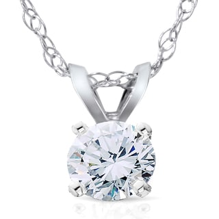 14k White Gold 1/3ct Lab Grown Diamond Eco Friendly Sollitaire Pendant (F-G, SI1-SI2)