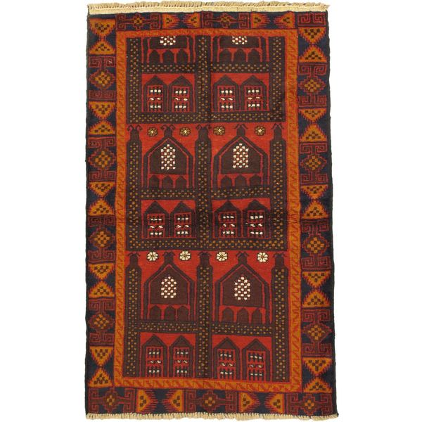 eCarpetGallery Traditional Kazak Red Wool Hand-knotted Rug (3' x 6')
