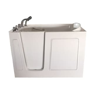 Value Life White 53-inch Contoured Heated-backrest Left Walk-in Tub