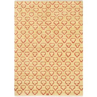 eCarpetGallery Finest Ziegler Yellow Wool Hand-knotted Chobi Rug (5'4 x 7'6)