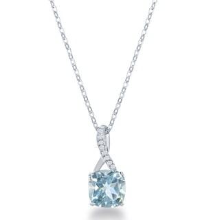 La Preciosa Sterling Silver Gemstone and White Topaz Infinity Pendant