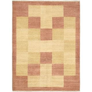 eCarpetGallery Finest Ziegler Chobi Brown/Ivory/Pink Cotton/Wool Hand-knotted Rug (5'8 x 7'6)