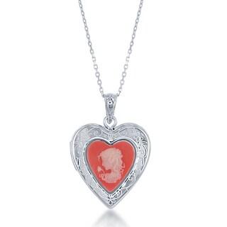 La Preciosa Sterling Silver Pink Agate Cameo Heart Locket