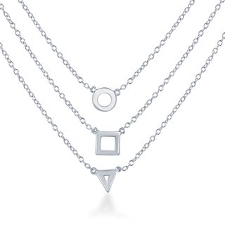 La Preciosa White Sterling Silver Triple-strand Triangle/Square/Circle Necklace