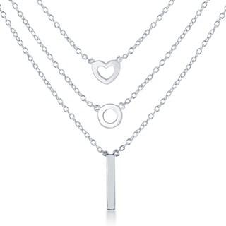 La Preciosa Sterling Silver Triple-strand Bar Circle and Heart Necklace
