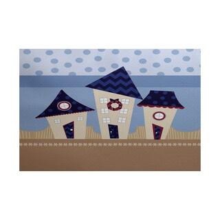 Coastal Houses Geometric Print Indoor/ Outdoor Rug (2' x 3')
