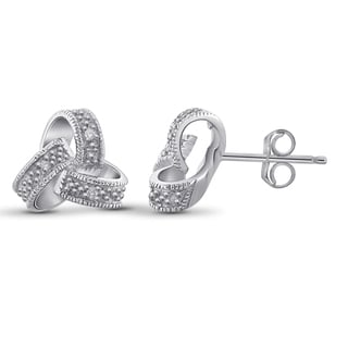 Jewelonfire Sterling Silver White Diamond Accent Love Knote Earrings