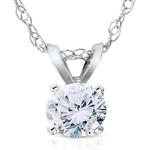 14k White Gold 3/4ct Lab Grown Eco Friendly Diamond Solitaire Pendant