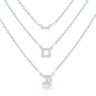 La Preciosa Sterling Silver Triple-strand Bar Square and Pryamid Necklace