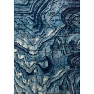 "Abstract Indigo/ Blue Mid-century Rug - 9'2"" x 13'"