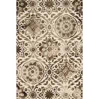 Hand-hooked Taupe Damask Wool Area Rug - 9'3 x 13'