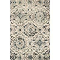 Hand-hooked Slate/ Grey Damask Wool Area Rug - 9'3 x 13'