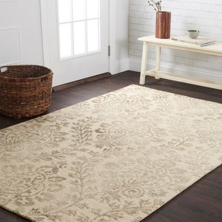 "Hand-hooked Light Grey Floral Damask Wool Area Rug - 9'3"" x 13'"