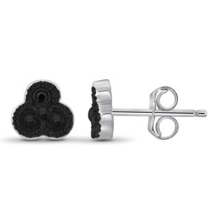 Jewelonfire Sterling Silver Black Diamond Accent Stud Earrings
