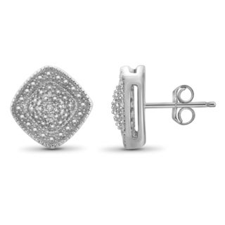 Jewelonfire Sterling Silver White Diamond Accent Earrings