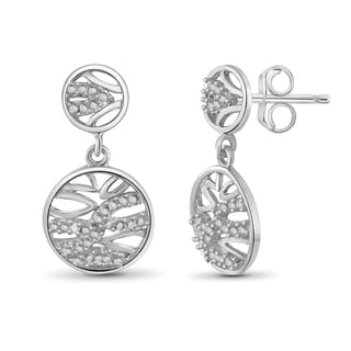 Jewelonfire Sterling Silver White Diamond Accent Dangle Earrings