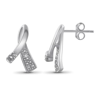 Jewelonfire Sterling Silver White Diamond Accent Ribbon Earrings