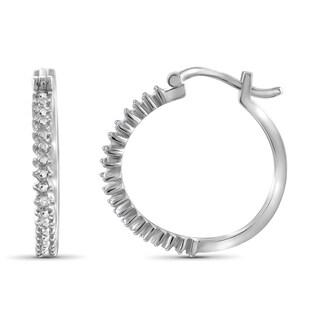 Jewelonfire Sterling Silver White Diamond Accent Hoop Earrings