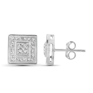Jewelonfire Sterling Silver White Diamond Accent Square Shape Earrings