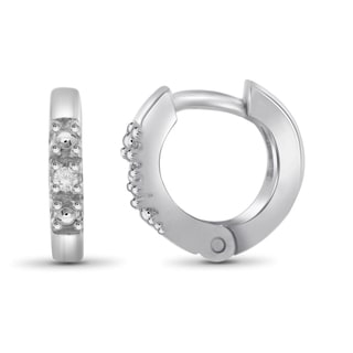Jewelonfire Sterling Silver White Diamond Accent Hoop Earrings