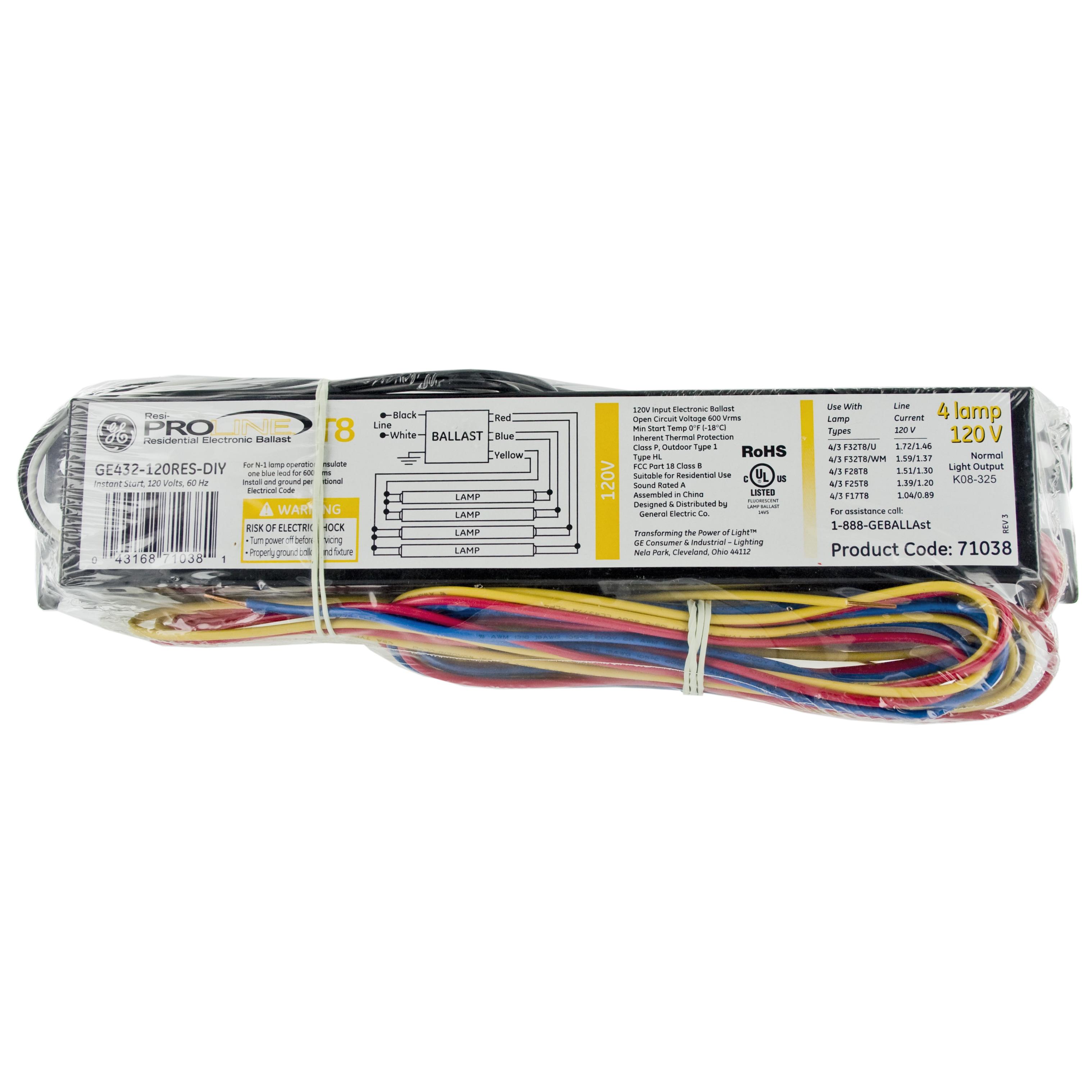 ge lighting 4lamp t8 120 volt residential electron