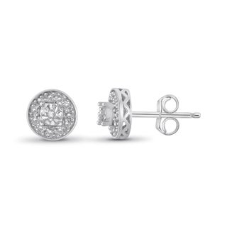 Jewelonfire Sterling Silver White Diamond Accent Halo Stud Earrings