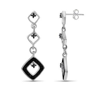 Jewelonfire Sterling Silver Black Diamond Accent Drop Shape Earrings