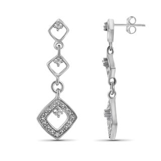 Jewelonfire Sterling Silver White Diamond Accent Drop Shape Earrings