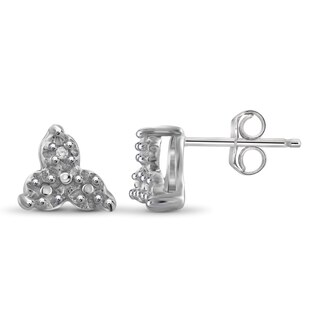 Jewelonfire Sterling Silver White Diamond Accent Trinity Stud Earrings