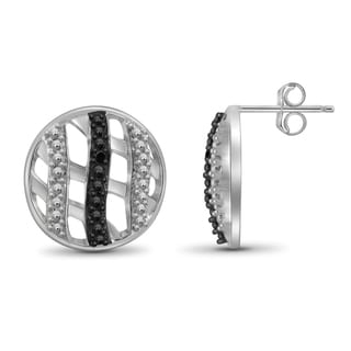 Jewelonfire Sterling Silver Black Diamond Accent Circle Earrings