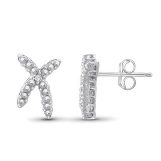 Jewelonfire Sterling Silver White Diamond Accent 'X' Earrings