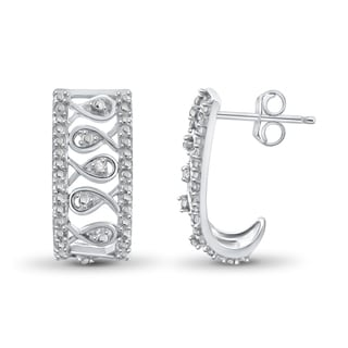 Jewelonfire Sterling Silver White Diamond Accent J Hoop Earrings