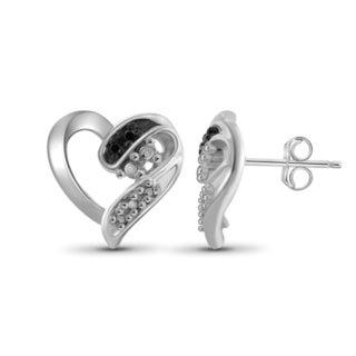 Jewelonfire Sterling Silver Black Diamond Accent Heart Earrings
